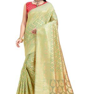 Green & Gold Colour Designer Cotton Jacquard Coloroso Saree