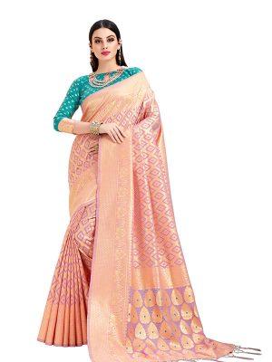 Pink & Gold Colour Designer Cotton Jacquard Coloroso Saree