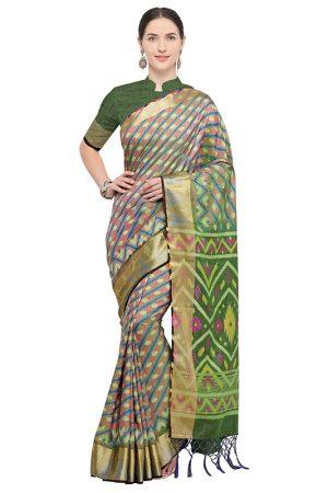 Multicolor Designer Nylon Soft Silk Ikkat Silk Saree