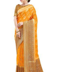 Orange Colour Designer Nylon Silk Parisera Saree