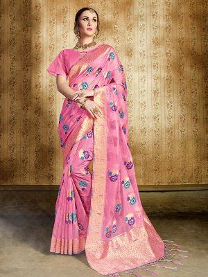 Pink Colour Designer Nylon Organza Silk Roliana Saree