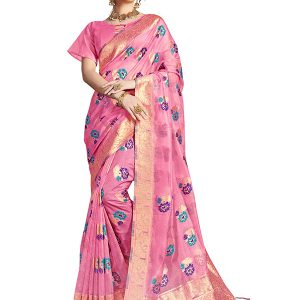 Pink Colour Designer Nylon Organza Silk Roliana Saree