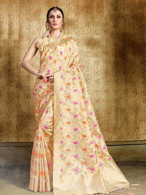 Cream Colour Designer Nylon Organza Silk Roliana Saree