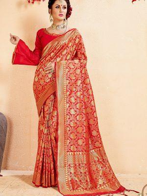 Red Colour Designer Banarasi Art Silk Omnah Saree