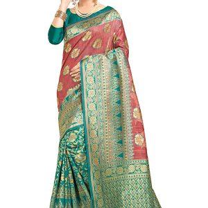 Teal Green & Pink Colour Designer Linen Silk Samayak Saree