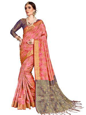 Pink Colour Designer Banarasi Silk Paridhan Saree