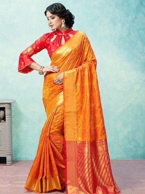 Orange Colour Designer Banarasi Art Silk Jharoka Saree