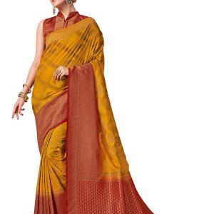 Mustard & Maroon Colour Designer Nylon Banarasi Silk Vijaylaxmi Saree