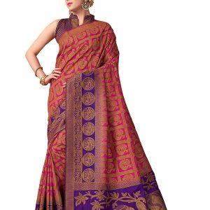 Pink & Purple Colour Designer Nylon Banarasi Silk Vijaylaxmi Saree