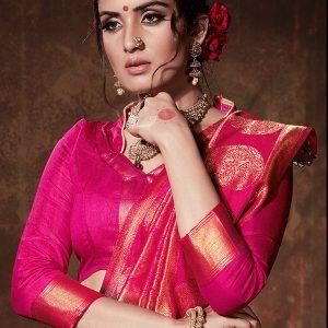 Black & Pink Colour Designer Nylon Silk Rajputana Saree