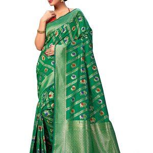 Green Colour Designer Banarasi Art Silk Indian Silk Saree