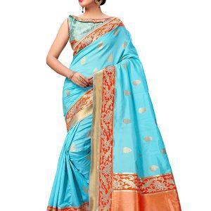 Turquoise Blue Colour Designer Banarasi Art Silk Indian Silk Saree