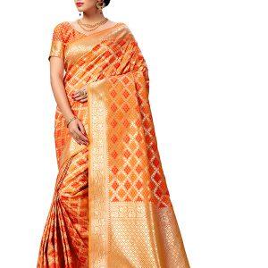 Orange & Red Colour Designer Banarasi Art Silk Indian Silk Saree