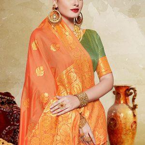 Orange Colour Designer Banarasi Art Silk Silk Bazaar Saree