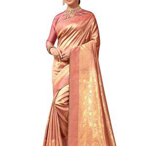 Peach & Gold Colour Designer Banarasi Silk Tilfi Saree