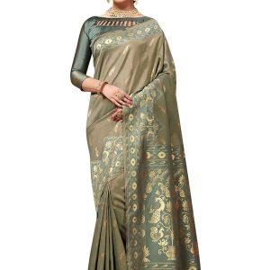 Olive Green Colour Designer Banarasi Silk Tilfi Saree