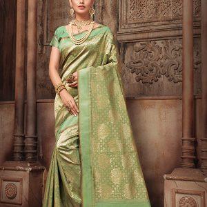 Teal Green Colour Designer Banarasi Silk Tilfi Saree