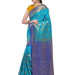 Sky Blue & Blue Colour Designer Nylon Soft Silk Yashraj Saree
