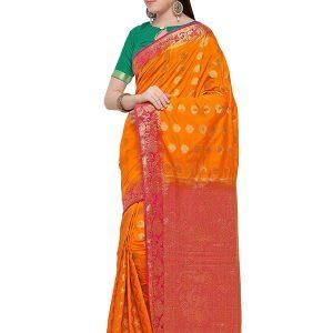 Orange & Red Colour Designer Nylon Soft Silk Yashraj Saree