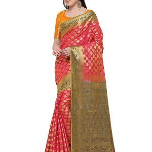 Pink & Gold Colour Designer Nylon Soft Silk Yashraj Saree