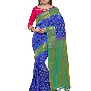 Blue & Green Colour Designer Nylon Soft Silk Yashraj Saree