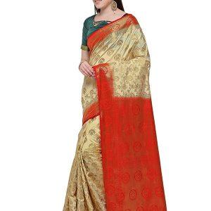 Cream & Red Colour Designer Nylon Soft Silk Yashraj Saree