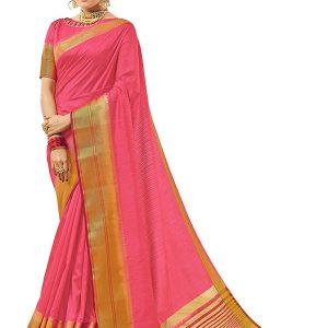 Pink Colour Designer Nylon Silk Gulakand Silk Saree