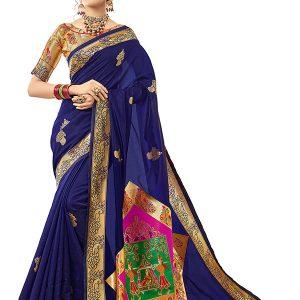 Blue Colour Designer Banarasi Silk Gulabguni Silk Saree