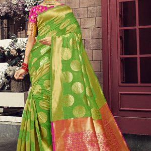 Lime Green Colour Designer Linen Silk Kamalkupa Silk Saree