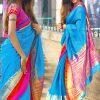 Sky Blue Colour Designer Cotton Silk Premlata Cotton Saree