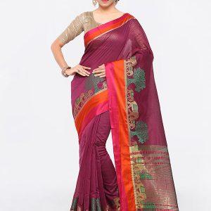 Burgundy Colour Designer Cotton Silk Premlata Cotton Saree