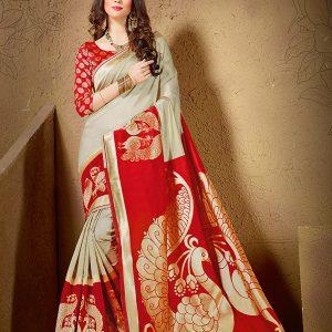Golden & Red Colour Designer Cotton Silk Yogeeni Saree