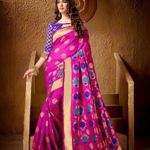 Pink Colour Designer Cotton Silk Yogeeni Saree