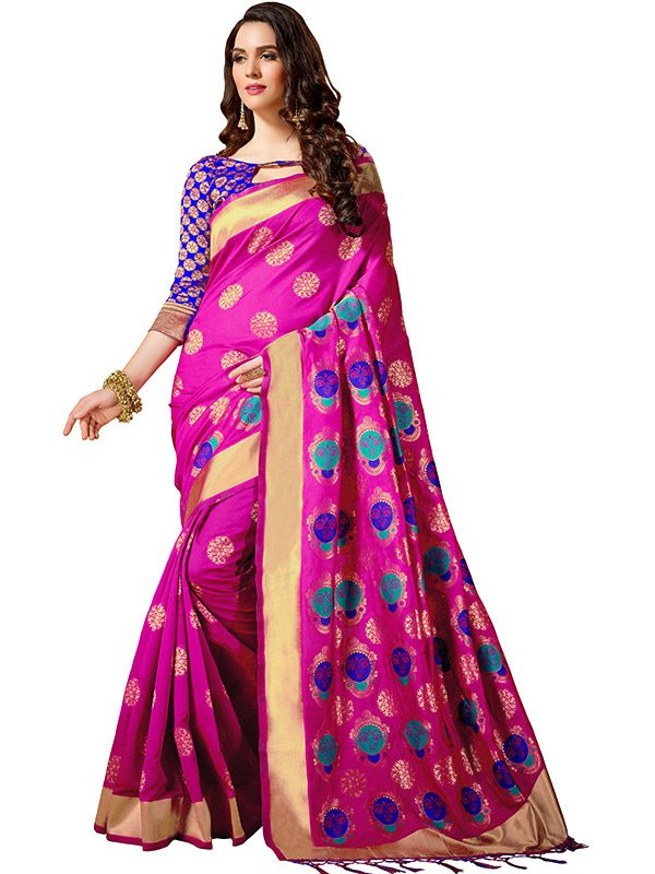 Pink Colour Designer Cotton Silk Yogeeni Saree