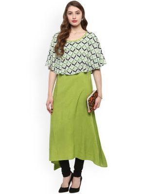 Women Green A-Line Kurta