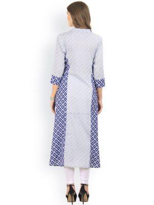 Women Blue & Grey Printed Straight Kurta