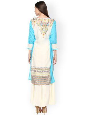 Women Off-White & Blue Printed Straight Kurta