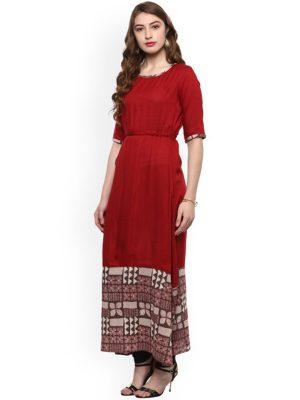 Women Red Printed A-Line Kurta