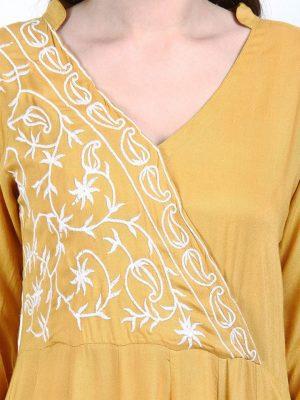 Women Mustard Embroidered Anarkali Kurta