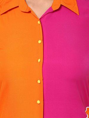 Orange & Yellow Colour Block Kurta