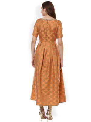 Women Rust Woven Design Anarkali Kurta
