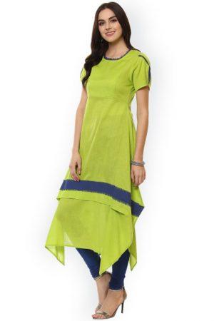 Women Green Solid A-Line Kurta