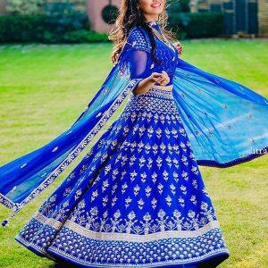 Tapeta Silk Embroidery Blue Lehenga Choli