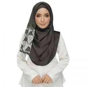 Grey Designer Cotton Half Net Stole