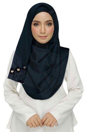 Blue Best Seller Designer Cotton One Sided Hijab