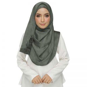 Most Sold Grey Color Designer Diamond Studed Hijab