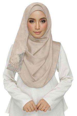 Purple Rich Cotton One Sided Diamond Work Hijab