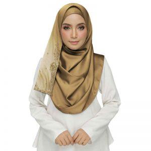Yellow Rich Cotton One Sided Diamond Work Hijab