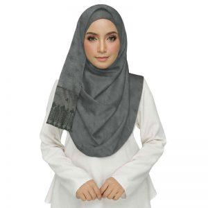 Premium Cotton Grey String Studed Crocia Hijab