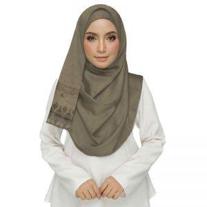 Premium Cotton Brown String Studed Crocia Hijab